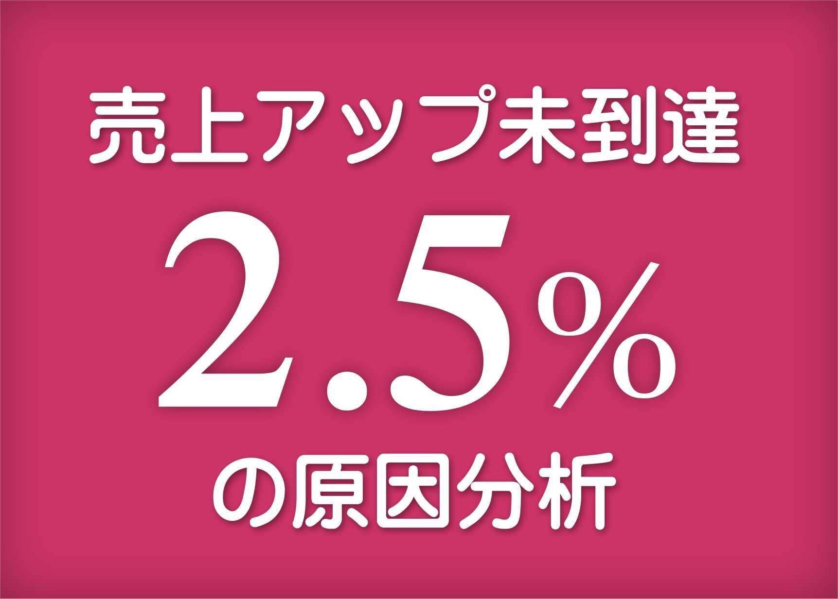 2.5%未達成原因その1 改善の順番